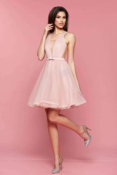 StarShinerS--Ana Radu cloche lightpink luxurious dress with a cleavage from tulle with inside lining accessorized with tied waistband-- Short Dresses, Formal Dresses, Homecoming Dresses, Dress Outfits, Evening Dresses, Photoshoot, Womens Fashion, Weddings, Clothes