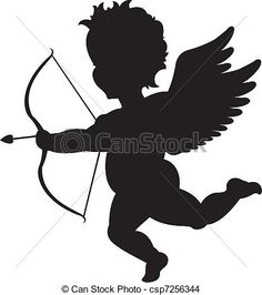 Vector - Cupid silhouette - stock illustration, royalty free illustrations, stock clip art icon, stock clipart icons, logo, line art, EPS picture, pictures, graphic, graphics, drawing, drawings, vector image, artwork, EPS vector art