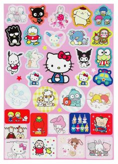 Sanrio Original Hello Kitty Die Cut Sticker Sheet Vintage Characters | eBay