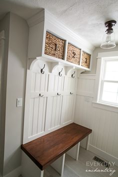 DIY Laundry Closet to Mudroom Makeover Mudroom Bench Closet DIY Laundry Makeover Mudroom Mudroom Laundry Room, Closet Mudroom, Bench Mudroom, Laundry Decor, Closet Storage, Home Projects, Home Remodeling, Sweet Home, New Homes