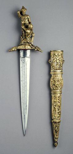 French                                Romantic dagger, ca. 1840                Gilt bronze and steel