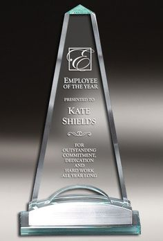 Our Glass Obelisk Trophy features a obelisk shaped piece of glass mounted on a silver metal & glass base. This trophy is tall, weighs lbs & comes in a satin-lined deluxe gift box. Glass Awards, Glass Plaques, Glass Picture Frames, Silver Metal, Wine Decanter, Diamond Shapes, Laser Engraving, Barware, Satin