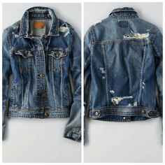 American Eagle Destroyed Denim Jacket NWT Brand new with tags, very comfy and chic. Size XXL. Runs pretty true to size. All holes are the way the jacket came. American Eagle Outfitters Jackets & Coats Jean Jackets