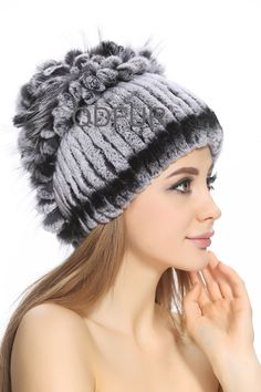 163.16$  Buy now - http://ali7zj.worldwells.pw/go.php?t=32275865875 - Handmade Genuine Stripe Rex Rabbit  Fur Beanies Caps Silver Fox Fur Ball Winter Women Fur Elegent Hats Headgear QD80238 163.16$