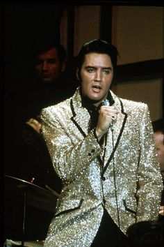 Elvis Presley in gold lamé jacket during filming of the NBC-TV Special in 1968