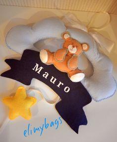 Fiocco nascita azzurro nuvoletta con orsetto e stellina♥, by Elimybags, 30,00 € su misshobby.com