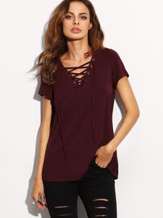 Lace Up Front V Neckline Tee -SheIn(Sheinside)