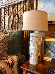 Birch Bark Table Lamp With Burlap Shade | Dartbrook Rustic Goods |
