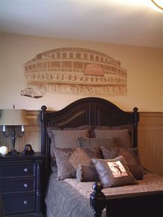 Can you believe the handpainted stadium on the wall?  Beautiful work!!   Whimsical Walls - Boy Rooms - Neenah, WI