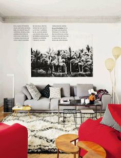 There is a lot that I like in this room, HOWEVER, I'd carry some COLOR over into the drab grey Picture...
