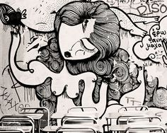 Street Art Print, Paris, Graffiti Photo, Urban Decor, Black and White Photography, Paris Café, Large Modern Wall Art, Nude, Woman, Monochrome by Studio Yuki