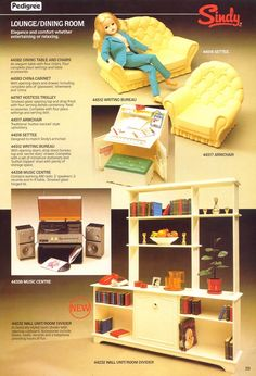 Pedigree Catalog Page - Sindy Lounge (Living Room) and Dining Room Furniture Sindy Doll, Doll Toys, Childhood Toys, Childhood Memories, Vintage Dolls, Vintage Ads, Hostess Trolley, Old Sweets, Barbie Room