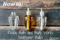 Bulbs Here is a super easy way to get the biggest bang for you buck and reuse your Bath and Body Works Wallflower Bulbs! - Here is a super easy way to get the biggest bang for you buck and reuse your Bath and Body Works Wallflower Bulbs! Bath Body Works Coupon, Reuse Candle Jars, Life Hacks, Life Tips, Bath And Body Works Perfume, Diy Bath And Body Works Soap, Bath Candles, Diy Candles, Scented Candles