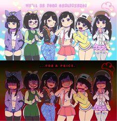 OSOMATSU-SAN, Twin 6 Matsuno Family, Genderbender, Ichimatsu, Choromatsu, Karamatsu, Osomatsu, Jyushimatsu and Todomatsu, We 'll be your girlfriends for... price!!!