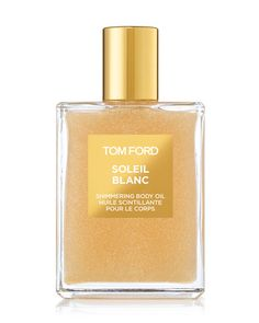 Soleil Blanc Shimmering Body Oil, Tom Ford shimmering body oil captures the sultry effect of sun-kissed summer skin and tempts the senses with a fragrance of scorching sensuality. This silky and lightweight oil illuminates the skin with shimmers of gold and platinum leaf. The captivating fragrance wraps a bouquet of white florals in a golden, amber-sandalwood embrace as tempting as a white-sand beach, as irresistible as the perfect tan.  Bergamot, ardamom oil orpur, pistachio accord