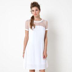 Robe de mariée, mariage civil, blanche, manche courtes, empiècement plumetis MADEMOISELLE R