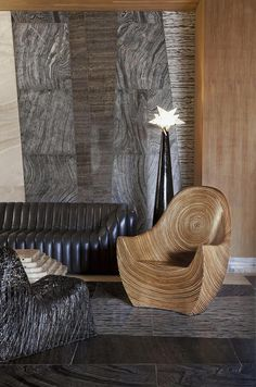 Kelly Wearstler Hotel Design • Kelly's signature mix of organic materials and natural design styles, layered with rich textiles and patterns from all over the world, offers a sensual interpretation of the unique island location and a striking visual contrast to the geometric lines of the architecture. #kellywearstler #interiordesign #designer Pierre Chareau, Furniture Decor, Furniture Design, Office Furniture, Restaurant Hotel, Kelly Wearstler, Modern Art Deco, Modern Floor Lamps, Hotel Interiors