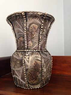 Hey, I found this really awesome Etsy listing at https://www.etsy.com/listing/238600514/textured-metallic-polymer-clay-vase
