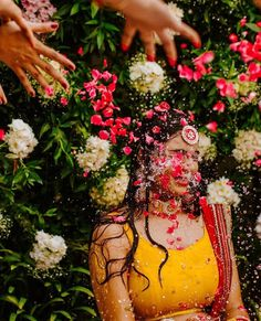 The haldi ceremony of an Indian wedding has a lot of prominence. While haldi is applied to both the groom and the bride for a number of auspicious reasons, Wedding Couple Poses Photography, Indian Wedding Photography, Wedding Photography Poses, Bridal Portrait Poses, Haldi Ceremony, Desi Wedding, Wedding Shot, Wedding Venue Inspiration, Bridal Photoshoot