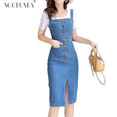 daa6387aa8a Voobuyla 2019 Summer Women Denim Dress Sundress Sarafan Overall Dress  Vintage Blue Casual Sexy Bodycon Pocket