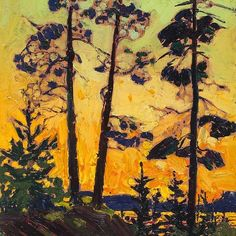 View Pine trees at sunset by Tom Thomson on artnet. Browse upcoming and past auction lots by Tom Thomson. Canadian Painters, Canadian Artists, Abstract Landscape, Landscape Paintings, Group Of Seven Paintings, Tom Thomson Paintings, Emily Carr, Catalogue Raisonne, Guache