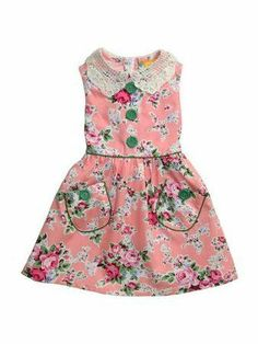 This is quite simply one of the loveliest little dresses to come from Rock Your Baby this summer. Made from 100% cotton, vintage in style, with a lace collar, piping, button detail and a sash that ties into a pretty bow at the back. Available in Blue Polka or Pink Floral. #madmen #dress #girls #rockyourbaby