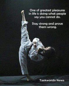 Prove them wrong! In taekwondo, there was no such thing as being an embarrassment for being last. The last thing we ever wanted was to leave a falling pal behind.