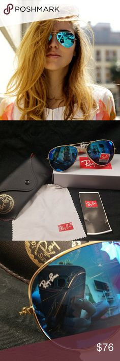 cd8d3eb6772e8 Ray-Ban aviator blue mirror golf frame Ray-Ban aviator blue mirror with  gold frame sunglasses Rb 3026 Made in Italy Any questions please feel free  to ask ...