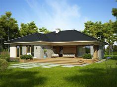 Zdjęcie projektu Nela IV WRP1615 Best Living Room Design, Home Room Design, Dream Home Design, Home Design Plans, House Outside Design, Small House Design, Village House Design, Village Houses, Beautiful House Plans