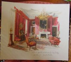 """The Kennedy 1962 Christmas Card depicted the Red Room of the White House. Inscribed """"With our appreciation and best wishes for a happy Christmas 1962,"""" it bore the printed signatures of President Kennedy and Jacqueline Kennedy."""