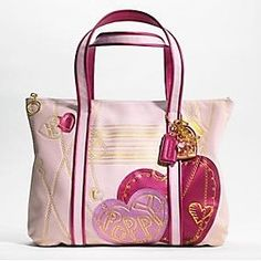 coach poppy metallic leather glam tote handbag 14551 pink with hearts
