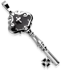 Castle Key Large Pendant with Black Inlay and Iron Cross Tip | Medieval Rings Online |