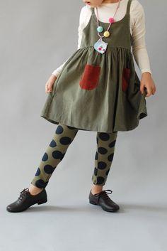 ...girls dress with polka dot hose