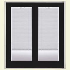 Masonite 60 in. x 80 in. Jet Black Prehung Right-Hand Inswing Mini Blind Steel Patio Door with No Brickmold in Vinyl Frame, Jet Black (Ecc-10-2)