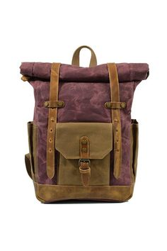 Canvas Backpack Laptop Bag Waterproof Weekend Bag With Leather Pockets by Elen Rose