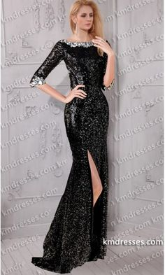 dramatic open back Jeweled scoop neckline 3/4 length sleeves side slit sequin gown.prom dresses,formal dresses,ball gown,homecoming dresses,party dress,evening dresses,sequin dresses,cocktail dresses,graduation dresses,formal gowns,prom gown,evening gown.
