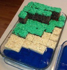 "MineCraft Crispie Treats (with jello ""water"")"
