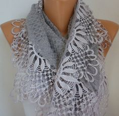 Gray Scarf    Headband Necklace Cowl with Lace Edge by fatwoman, $21.00