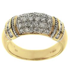 0.60 Cttw G VS Diamonds Cocktail Ring in 14K Two Tone Gold by GetDiamondsDirect on Etsy