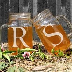 Couples Romantic Mason Jars - Custom Initials Personalized