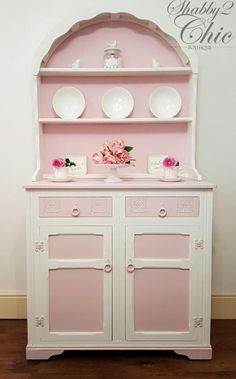 Here we have the perfect addition to your dining or living room. A pretty hand painted pink and white dutch dresser offering charm, and elegance.  This beautiful dutch dresser has been delicately and lovingly restyled in everlong chalk paint and waxed to seal and protect the finish. Given a new lease of life to transform your home into something wonderful.  This very popular choice offers great storage with two cupboard. afflink for Etsy