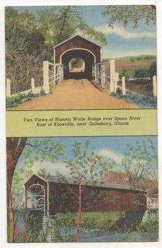 Wolfe Covered Bridge GALESBURG IL - Vintage Linen Knox Cty Illinois Postcard