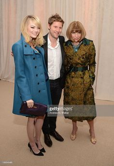 Actress Emma Stone, Burberry CCO Christopher Bailey and Vogue Editor-in-Chief Anna Wintour attend The Ninth Annual CFDA/Vogue Fashion Fund Awards at 548 West 22nd Street on November 13, 2012 in New York City.