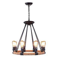 LNC Rustic Rope Chandeliers 8 Light Pendant Lighting For Kitchen Dining Room Living Restaurant