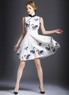 0b22e9ad58d White Cotton Dress As Picture Cotton Polyester Animal Sleeveless Above Knee  Dresses