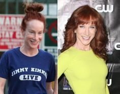 Kathy Griffin without makeup. If you want to feel like a celeb with your own personal makeup artist, contact me for a free makeover in central Louisiana or find a Fleur de Vie advisor near you at www. Celebrities Before And After, Celebrities Then And Now, Famous Celebrities, Female Celebrities, Famous Women, Celebrity Makeup, Celebrity Look, Celebrity Pictures, Celebs Without Makeup