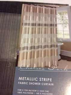 Chelsea Park Metallic Stripe Sheer Silver Gray Gold Fabric Shower Curtain NEW ChelseaPark