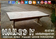 Farmstyle - Type Dining room table with pattern inserts. Affordable pallet wood furniture designed by you, built by us. For more info, contact 0834376919 or naileditpallets@gmail.com #farmstyletable #palletfarmstyletable #palletdiningtable #palletwooddiningtable #diningtable #naileditcustombuiltpalletfurniture #nailedpalletfurnituredurban #customtableideas #customfurniture #custompalletfurnituredurban #custompalletfurniture