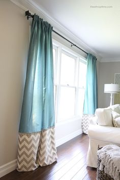 DIY back tab curtains with ruffled trim #hgtvhomemagic