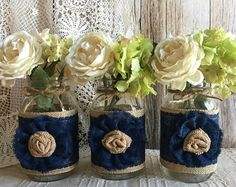 3 coral burlap and natural lace covered mason jar by PinKyJubb